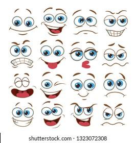 face expression set. vector illustration emoticon cartoon.