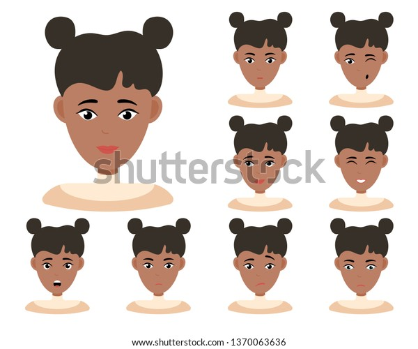 Face Expressions African American Woman Dark Stock Vector Royalty