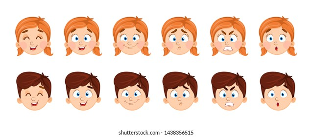 Face expressions of boy and girl. Set of emotions of children. Vector illustration on white background