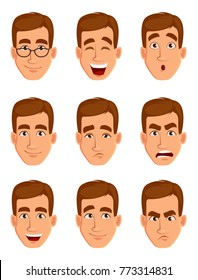 Face expressions of a brown haired man. Different male emotions set. Attractive cartoon character. Vector illustration isolated on white background.