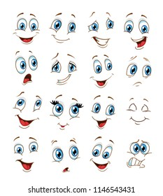 face expressions cartoon. vector ilustration