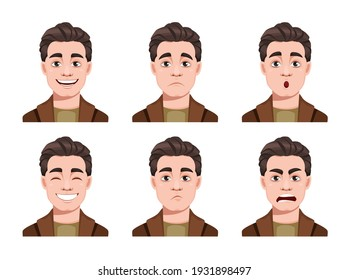 Face expressions of handsome man. Different male emotions set. Young guy cartoon character. Stock vector illustration on white background