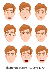 Face expressions of a man with blond hair. Different male emotions set. Attractive cartoon character. Vector illustration isolated on white background.