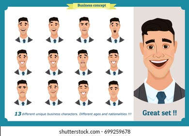 Face expressions of a man.Different male emotions set.Flat cartoon character. Young businessman in a suit  and tie.Face, elements for design work.Isolated vector on white.Set of avatars and icons
