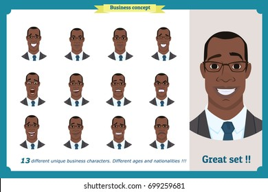 Face expressions of a man.Different male emotions set.Flat cartoon character.Young Black American businessman in a suit  and tie.Face, elements for design.Isolated vector on white.Set of avatars,icons