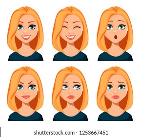 Face expressions of woman with blond hair. Different female emotions set. Beautiful cartoon character modern business woman. Vector illustration isolated on white background.