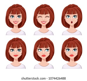 Face expressions of woman with brown hair. Different female emotions set. Beautiful cartoon character. Vector illustration isolated on white background.