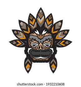 A face with feathers in the Polynesian style. Maori or samoa tattoo. Good for prints. Isolated, vector