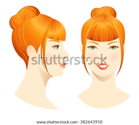 face front profile hairstyles bangs stock vector royalty free