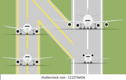 Face front view of 4 airplanes (plane) in 4 types isolated on the runway and taxi way in illustration style