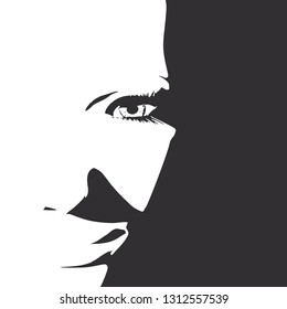 Face front view. Elegant silhouette of a female head. Portrait of a happy smiled woman