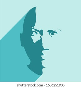 Face front view. Elegant silhouette of a female head. Web icon with long shadow