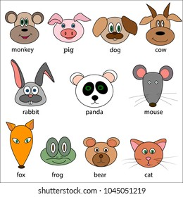 Face Funny Animal Cartoon Vector illustration Icon Set . Isolated. Perfect for greeting cards, party invitations, posters, stickers, pin, scrapbooking, t-shirt design.