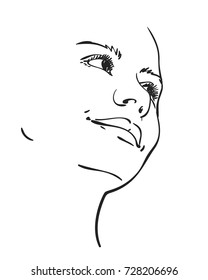 Face of girl with smile and chin raised, Vector sketch hand drawn illustration