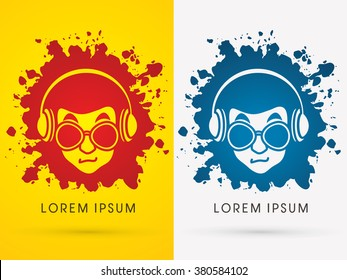 Face with glasses and headphone on grunge splash ink graphic vector.