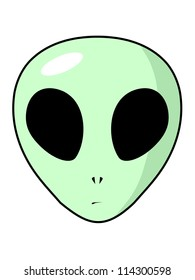 Face of the green alien with the big head and greater black eyes. The stylized image.