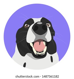 The face of a happy smiling dog on the background of a purple circle.  Logo or icon for pet shop, veterinary clinic, dog kennel.  Vector illustration
