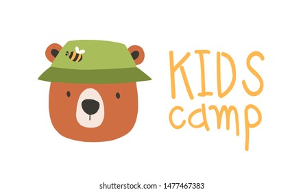 Face or head of cute lovely bear wearing bucket hat. Muzzle of funny animal isolated on white background. Vector illustration in flat cartoon style for children t-shirt print, logo for kids camp.