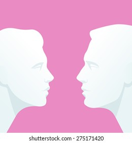 Face to face. Heads of man and woman who look into each others eyes