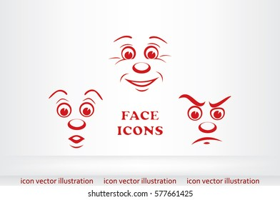 face icon vector EPS 10, abstract sign portrait  flat design,  illustration modern isolated badge for website or app - stock info graphics.