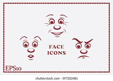 face icon vector EPS 10, abstract sign portrait  flat design,  illustration modern isolated badge for website or app - stock info graphics