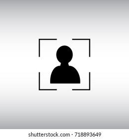 Face ID flat vector icon. Face identification isolated vector sign. Face ID application button.