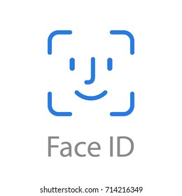 Face id Icon Blue color. Vector illustration