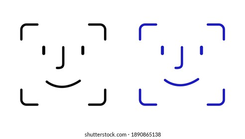 face id icon. Facial recognition system signs on white background.Vector.10EPS