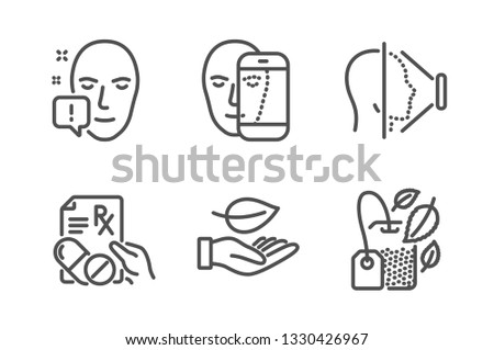 Face Id Leaf Face Attention Icons Stock Vector (Royalty Free