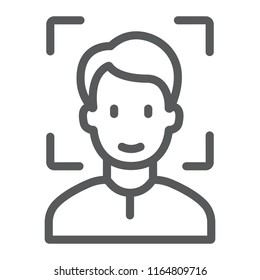 Face ID line icon, face recognition and face identification, face scanning sign, vector graphics, a linear pattern on a white background, eps 10.