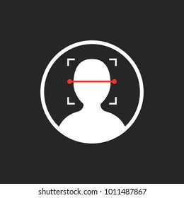 face id scanner icon isolated on black. concept of facial scanning like recognize person or futuristic virtual reality access sign. flat simple style trend modern logotype graphic design element