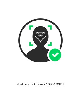 face id scanner logo with check mark. flat style trend simple logotype graphic design isolated on white background. concept of facial scanning for unlock your cellphone and people access authorization