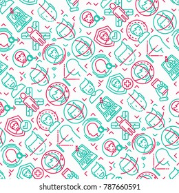 Face ID seamless pattern with thin line icons: face recognition, scanning, mobile authentication, approved, disapproved, face detect. Modern vector illustration.