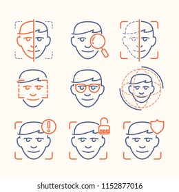 Face ID thin line icons set: face recognition, scanning, mobile authentication, approved, disapproved, face detect. Modern vector illustration