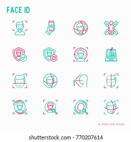 Face ID thin line icons set: face recognition, scanning, mobile authentication, approved, disapproved, face detect. Modern vector illustration.
