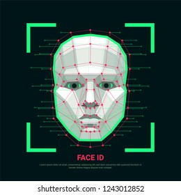 Face identification concept. Biometric identification or Facial recognition system. Human face consisting of polygons, points and lines. Vector illustration