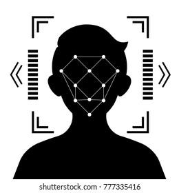 Face identification icon Vector concept