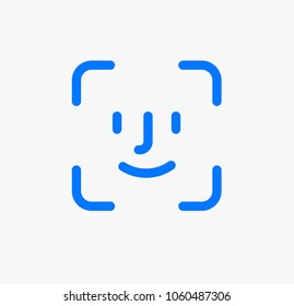 Face identification. Face id icon. Facial recognition system sign. Facial detection symbol. Face scanning process icon. Identification of a person. Vector icon facial recognition for apps and websites