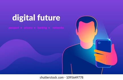 Face identification of young man by mobile phone front camera shoot. Gradient line vector illustration of man holds smartphone in his hand for getting access to device via face recognition technology