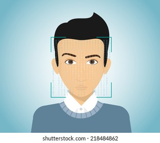 Face identification of young man. Vector illustration