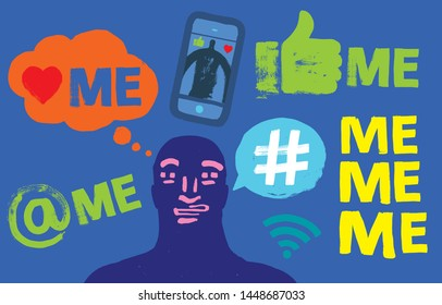 Face Illustration, Social Media Symbols, Grunge Texture, Self Obsessed, Millennial Concept, Me Me Me, Smartphone, Vector, Colorful, Online Identity, Profile, Story, Perception versus Reality, Blogger