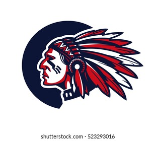 Face of indian chief. Vector illustration