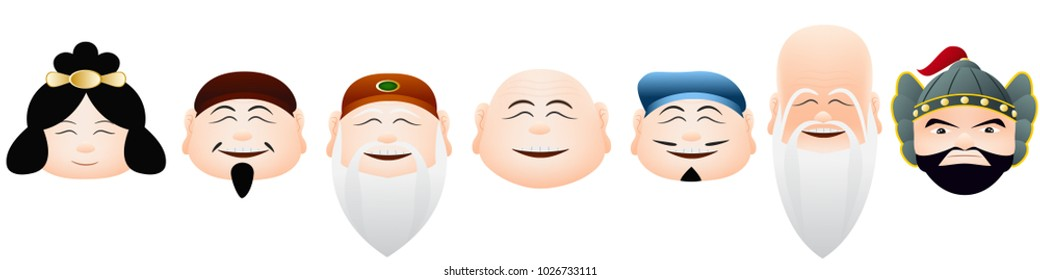 Face of japan lucky gods graphic vector