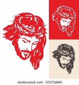 Face of Jesus Christ. Hand drawn.