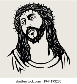 The face of Jesus Vector is perfect for t-shirt designs and can be used for other designs