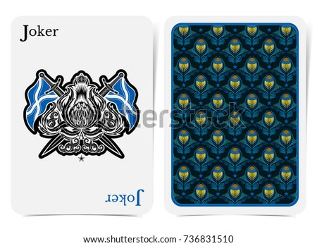 Face joker card thistle plant pattern stock vector royalty free face of joker card thistle plant pattern with crossed flags and sword and back with blue maxwellsz