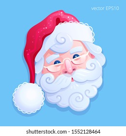 Face of jolly Santa Claus. Detailed vector sticker. Mask of bearded old man in the red hat. Santa squints artfully and bows his head to his side. Cute Christmas emoji is isolated on a blue background