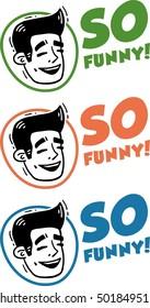 Face Laughing Man Logo Set So Funny