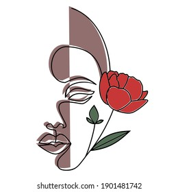 Face Line Art. Face painting. Contemporary portrait. Continuous line drawing faces Abstract face one line drawing. Portret minimalistic style. Woman's beauty minimalist illustration Leaves and Flowers