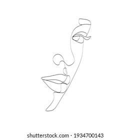 Face Line drawing art. Woman face Vector. Minimalist female Portrait. Beauty salon Logo. Modern Artwork. Fashion Print